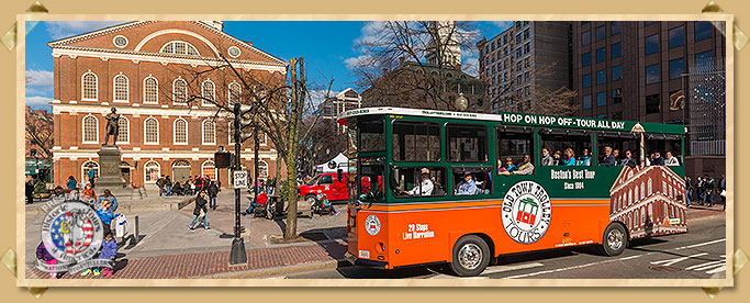 Trolley In Front Of Faneuil Hall