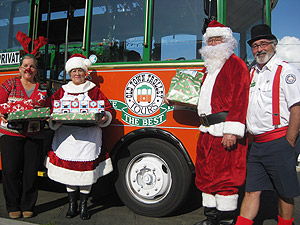 santa claus and trolley