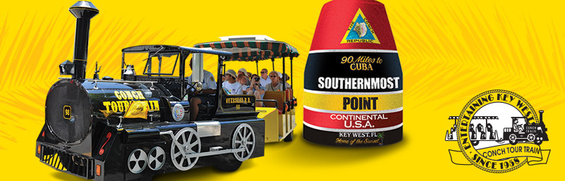 silhouette picture of conch tour train and southernmost point buoy and in the lower right corner, a conch tour train logo with the words 'Entertaining Key West Since 1958;