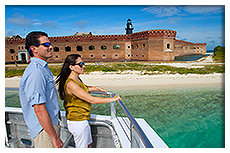 couple on boat at Fort Jefferson