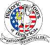 Historic Tours of America Logo featuring a US flag in the background and Paul Revere in the foreground riding a horse