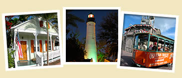 photos of key west house, lighthouse and trolley driving by shipwreck museum