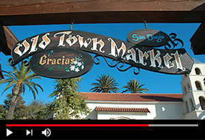 video screen showing old town market san diego sign