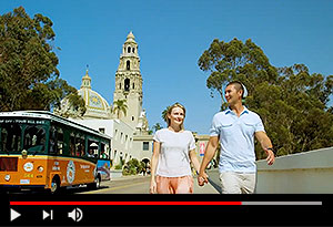 video screen showing couple walking with trolley behind them as it drives past balboa park tower