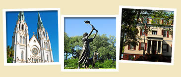 photos of waving girl statue, cathedral and juliette gordon house