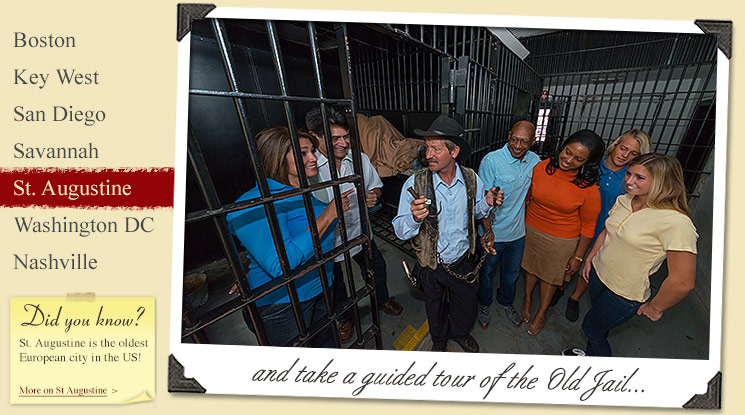 guests inside old jail cell