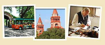 photos of flagler college tower, spanish reenactor and trolley